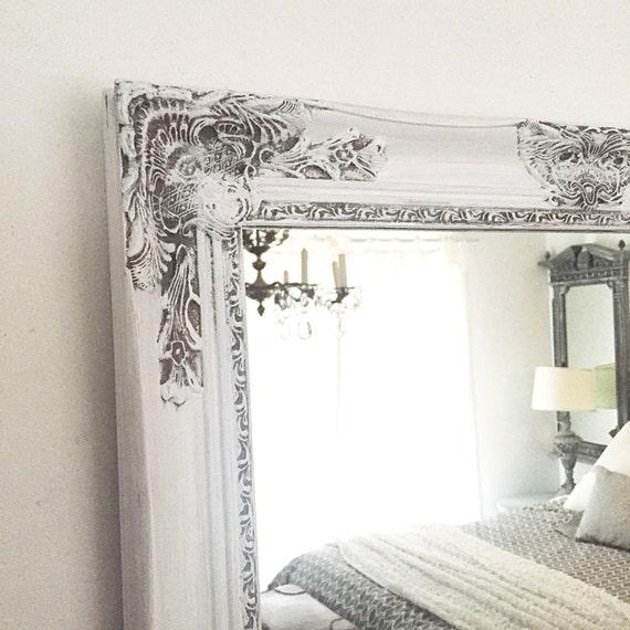 Farmhouse Mirror, Vanity Mirror, Ornate Bathroom Mirror Gray and White  Distressed Cottage Chic Mirror