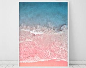 Coastal Beach Decor • Waves print Large Beach Poster Wave printable  Pink and Blue Modern Printable Art Ocean Waves Aerial Beach Photography