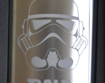 Storm Trooper  Star Wars Etched Flask by Jackglass on Etsy