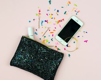 Midnight Black Glitter Party Clutch Bridesmaid Purse Make Up Bag.