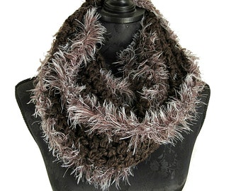 Brown Knit Scarf - Brown Crochet Scarf - Faux Fur Scarf - Extra Long Winter Scarf