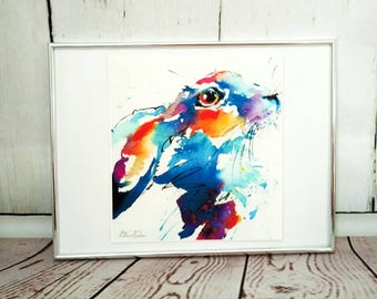 Hare limited edition giclee watercolour print,  Hare Wall Art, Home Decor, Nursery Art gift ideas Christmas, hares rabbits, gift for her