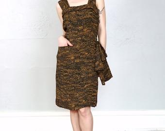 1950s SAKS Dress . Black Print Saks 5th Ave