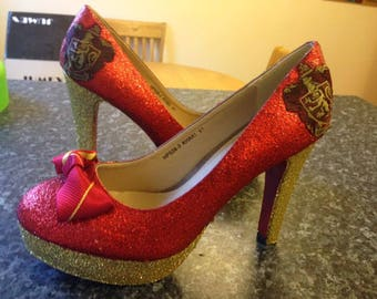 Harry Potter Inspired Handmade Heeled Glitter Gryffindor House Party Shoes