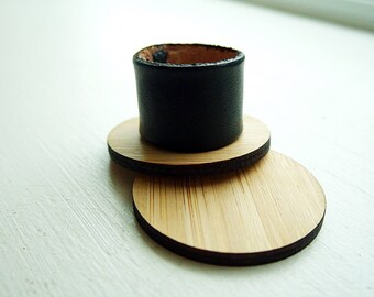 Wide Black leather ring / black vegetable tanned leather  / 3rd anniversary gift