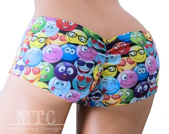 Neon Smiley Face Emoji Scrunch Butt Booty Shorts Adult All Sizes- MTCoffinz (Choose Standard Boy Shorts or Lo Rise)