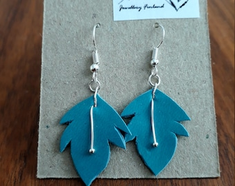 Recycled Faux-leather Leaf Earrings