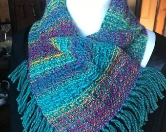 Handwoven fringed cowl, cowl, scarf, handspun, merino, silk