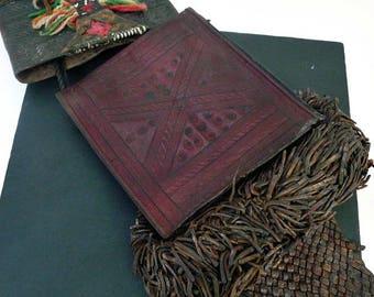 Vintage Tuareg Leather Bag // Authentic Old Tuareg Bag with Wallet // Tribal Vintage