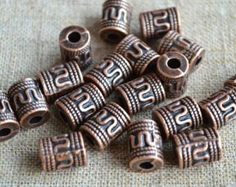 20pcs Metal Bead Antiqued Copper 13x10mm Fancy Cylinder Tube 4mm Hole Loop