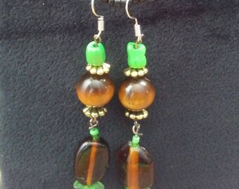 Tiger's eye and green earrings