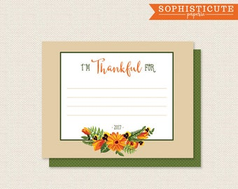 I'm Thankful For Cards - Thanksgiving Printable