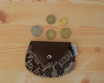 Leather coin purse,leather change purse,change purse leather,snake leather,snake coin purse,brown coin purse,mens coin purse,minimal purse