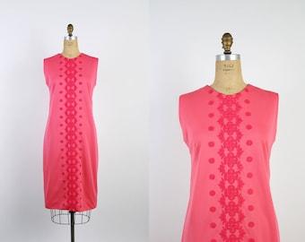 Vintage 60s Mod Pink Embroidered Dress / 1960s Scooter Dress / Pink Dress / Cocktail / Shift Dress / Size M/L