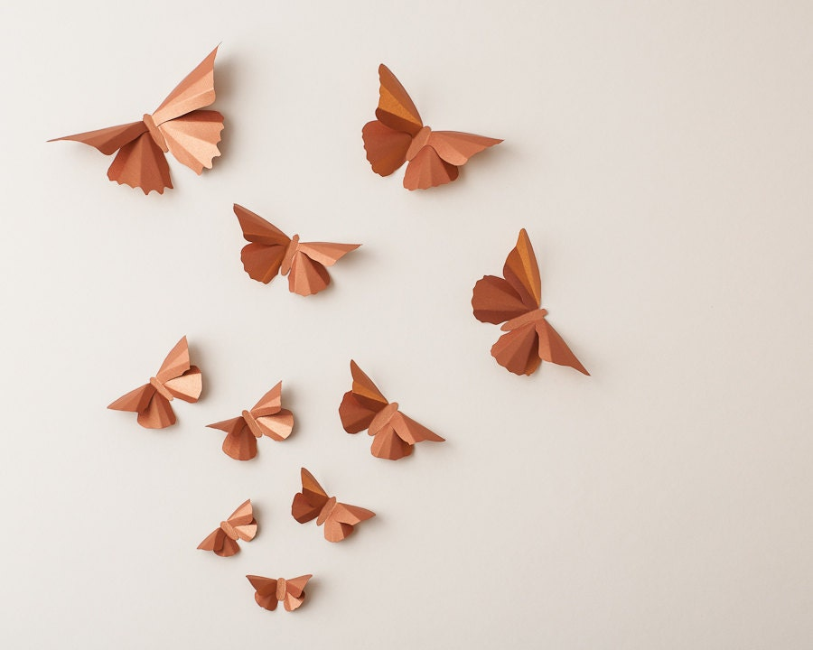 3D Butterfly Wall Art: Copper Metallic Silhouettes for Girls