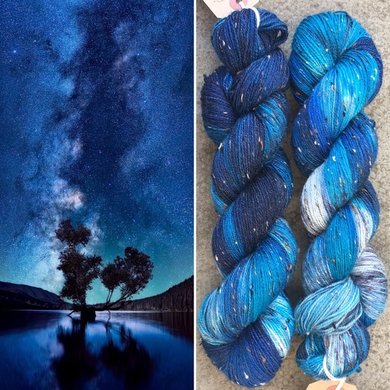 Night Sky Donegal Sock, textured soft merino yarn with neps