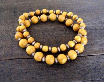 Wood Bracelet Stack Yoga Bracelet Wood Bracelet Wood Stretch Bracelet Boho Jewelry Boho Bracelet Earthy Jewelry Yoga Bracelet Natural Wood