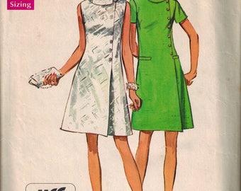 1969 Simplicity 8541 Retro Mod Mini Dress Sewing Pattern Vintage Size 14