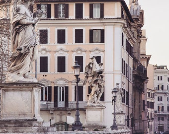 "Rome Photography Print, Ponte Sant'Angelo, Rome Italy, Wall Art Print, Travel Photography, Wanderlust, Italian Wall Art ""Roman Holiday"""