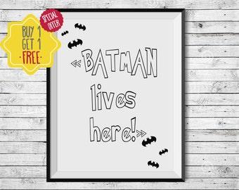 Superhero wall art,  batman gifts for boyfriend, black and white nursery prints, baby boy nursery wall décor,nursery art,printable superhero