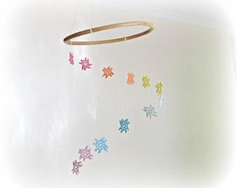 Rainbow Hanging Baby Mobile Girl Boy - Nursery Gift Vintage Doilies Retro - Boho Chic Shabby Pastel Rustic New Shower