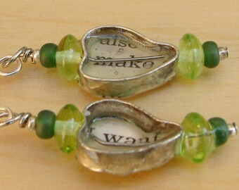 Text resin earrings green Make Want Heart silver dangles
