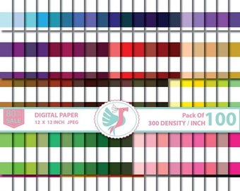 ON SALE 100 Candy Stripes digital paper, Large Horizontal Striped scrapbook pack, printable patterned background, commercial use,  Sale 80%