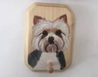 Wooden Leash/key holder with a Yorky dog