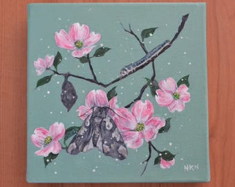 Pink Dogwood and Moth Original Acrylic Painting