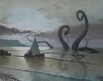 """4"""" by 6"""" postcard print, """"Kraken"""" Altered Thrift Store Art"""