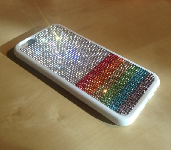 "iPhone 6 / 6s  4.7"" Rainbow  "" PRIDE "" Rhinestone Crystals White Rubber Case. Velvet/Silk Pouch Bag Included, Genuine Rangsee Crystal Cases"