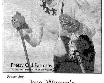 1940s Jane Wyman Johnny Belinda Sweater and Stocking Cap Combo Woman's Own Vintage Knitting Pattern Instant Download