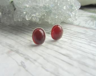 Natural Carnelian Stud Earrings - 925 Sterling Silver Gemstone Jewellery - Orange Earstuds
