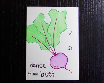 Dance To The Beet Card w/ Envelope   Pun Card   Punny Card