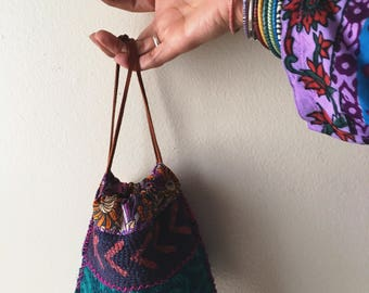 NEW!! Kantha pouch drawstring  bag, wallet, clutch, handbag, small bag, reversible, wristlet
