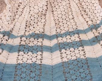 Vintage Aqua and Ivory Crocheted Apron