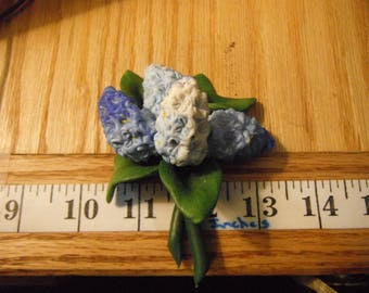 Vintage Hand Molded Clay Polymer Bouquet of Lilac Sculpture, Made in Poland, Unknown Artist   {G}