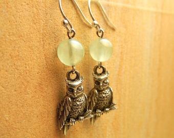 Owl Earrings, Beaded Earrings, Prehnite Earrings, Green Gemstone Earrings, Pewter Owl Earrings, Athena, The Owl and the Full Moon