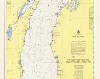 Lake Michigan Historical Map 1963