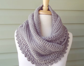 PATTERN S-013 / Crochet Pattern / Willow Ruffle Infinity / 300 yds worsted