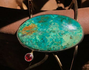 Magic Bracelet, Turquoise, garnet, gold and silver