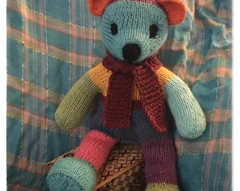 Colorful Hand-Knit Patchwork Bear