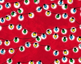 Peace Love Joy, Christmas Lights, Quilting Treasures, Light String, Red