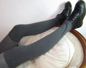 Cashmere socks Gray Over the Knee Socks Thigh Highs Leg Warmers Boot Sock Charcoal Grey Cotton Blend A928