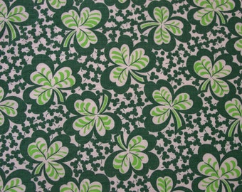 Vintage Feedsack Fabric Novelty Green Clover,Shamrocks 25 1/2 x 46""
