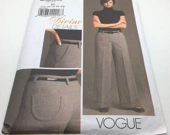 Vogue V8479 8479 Divine Details Misses Petite Pants Unlined Semi Fitted Slightly Flared Fly Zipper Front Darts Size 14 16 18 20 22 Uncut New