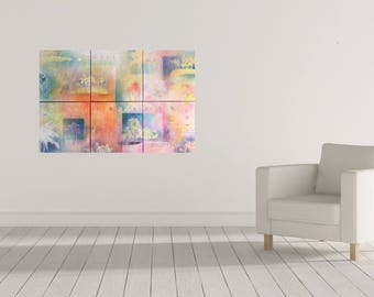 large abstract landscape painting, original art, purple pink orange wall decoration, palm trees