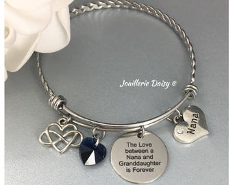 Gift for Nana Bangle Bracelet The Love between a Nana and Granddaughter is Forever Grandmother Birthday Gift Idea Nana Charm Bracelet