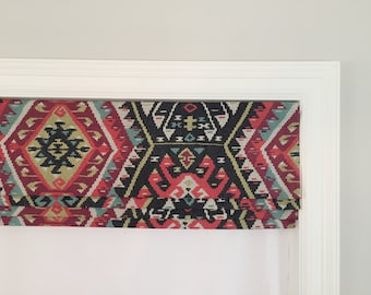Faux (fake) flat roman shade valance.  Perfect solution!  Your choice of fabric (up to 20 dollars/yd) included! P Kaufmann Longrock Fiesta