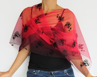 FREE SHIPPING Red Scarf, Tulle  Shoulder Wrap Garnet Shawl, Christmas Gifft Under 20